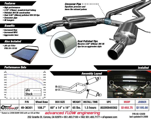 AFe BMW I Exhaust - 2007 bmw 335i performance upgrades